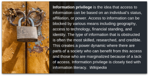 On information privilege and information equity