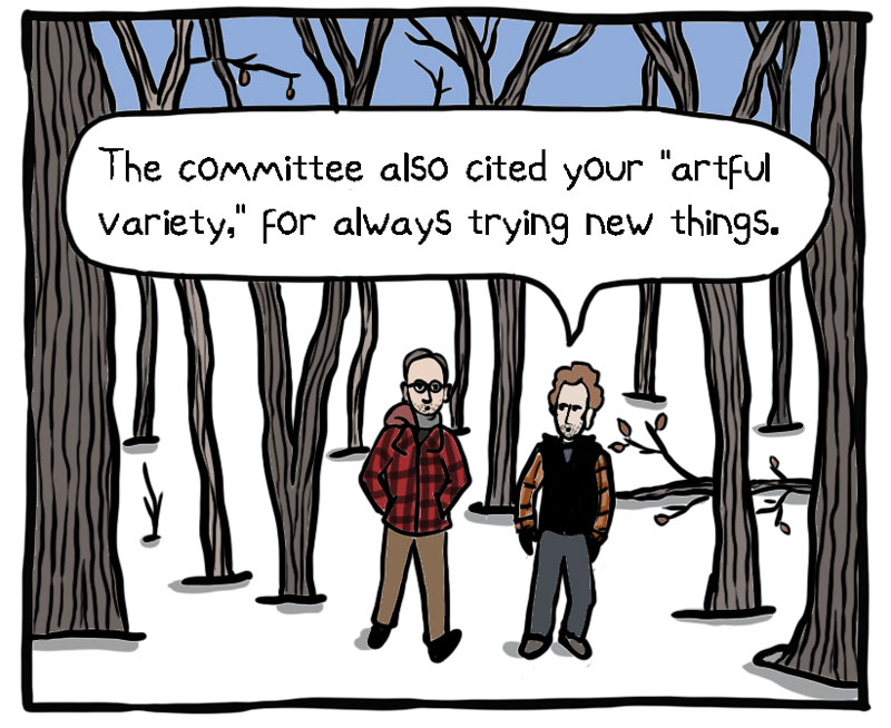 Walking and Talking with M.T. Anderson, a Comic by Steve Sheinkin