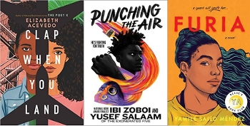 Latinx YA Realistic Fiction covers: Clap if you land, Punching the Air, Furia