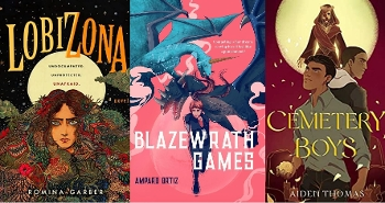 YA Latinx Fantasy books: Lobizona, Blazeworth Games, Cemetery Boys