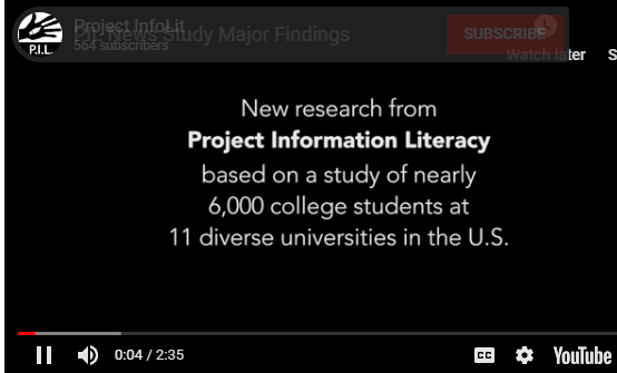 Project Information Literacy News Study: A New Study on New Adults and News